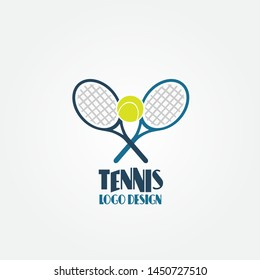 Tennis balls and tennis racquet, vector illustration. Yellow tennis balls. Sports, fitness, activity vector logo design template.