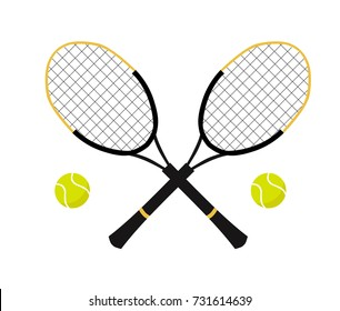 Tennis balls and tennis racquet, vector illustration. Yellow tennis balls. Tennis design over white background vector illustration. Sports, fitness, activity vector design.
