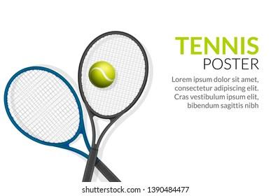 Tennis banner background. Tennis ball racket poster sport flyer design, tournament.