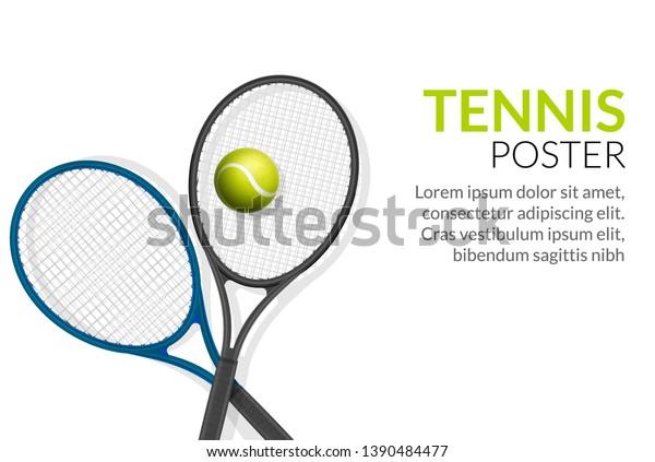 Tennis Banner Background Tennis Ball Racket Stock Vector Royalty Free 1390484477
