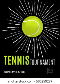 Tennis championship or tournament poster design. Tennis ball and green firework. Vector illustration