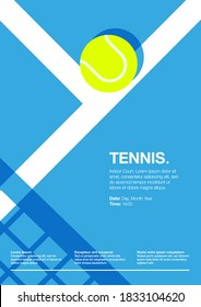 Tennis Championship and Tournament Poster. Indoor, Blue, Court. Ball on the Line. Net Shadow on floor. Close up. Flat, Simple, Retro style - Vector