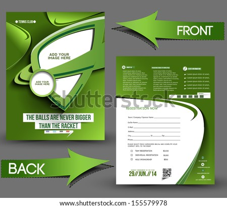 Tennis Competition Front Back Flyer Template Stock Vector Royalty