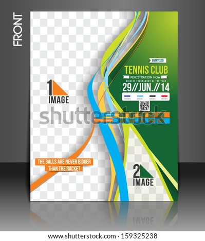 Tennis Competition Front Flyer Template Stock Vector Royalty Free