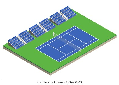 Tennis court with bleachers in isometric. Vector illustration.