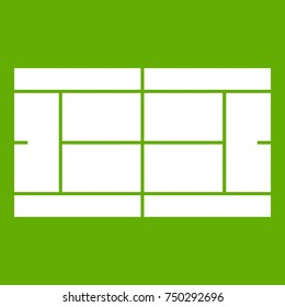 Tennis court icon white isolated on green background. Vector illustration