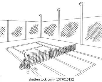 Tennis court sport graphic black white sketch illustration vector