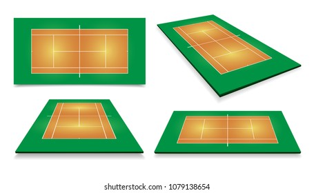 Tennis court . Top view and different perspective, eps10 vector.