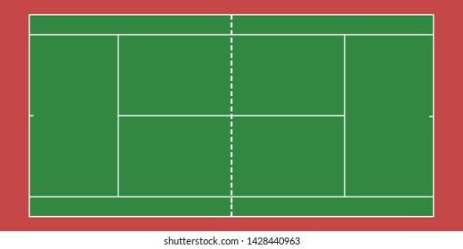 Tennis court top view, Green tennis court background