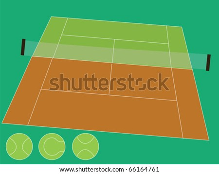 Tennis Court Two Parts Stock Vector Royalty Free 66164761