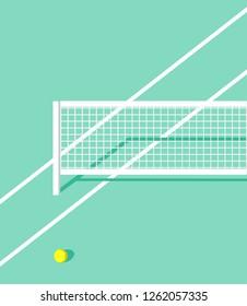 tennis court vector. tennis ball on court. tennis net vector