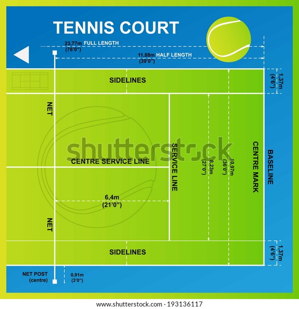 Tennis Court Yard Diagram Vector Stock Vector  Royalty