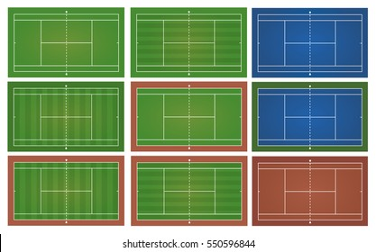 Tennis courts. Top view . The exact proportions . Vector illustration