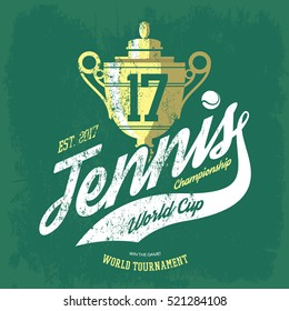 Tennis cup or trophy and flying ball banner for t-shirt or sportswear shirt, athletic gear. Tournament banner print. Team logo or sport club or center badge, athletic sportswear branding