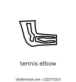 Tennis elbow icon. Trendy modern flat linear vector Tennis elbow icon on white background from thin line Diseases collection, editable outline stroke vector illustration