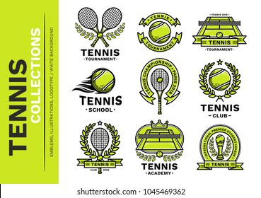 Tennis emblem, illustration, logotype collection, modern line style, green color, on a white background.