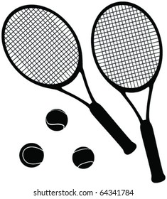 tennis equipment silhouettes - vector