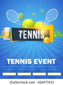 Tennis Event, Flyer or Poster Template Vector Design