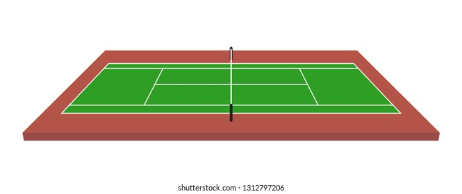 Tennis field isometric vector illustration on white