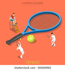 Tennis flat 3d isometry isometric sports concept web vector illustration. Big racquet racket and micro players game match set. Creative people collection.