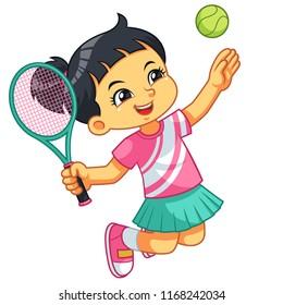 Tennis Girl Jump Smash.