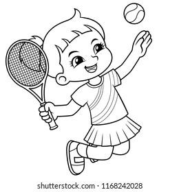 Tennis Girl Jump Smash BW.