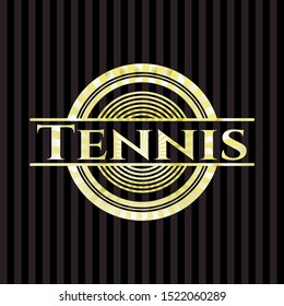 Tennis gold badge or emblem. Vector Illustration. Detailed.