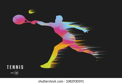 tennis graphic dynamic composition with woman player with rocket in hand beating the ball