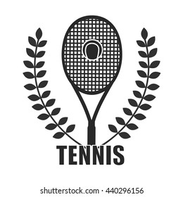 Tennis icon and logotype. Tennis racket isolated on white background.