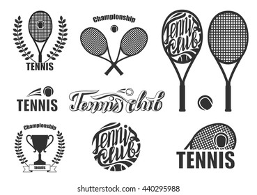 Tennis icons and logotypes. Tennis badge isolated on white background.