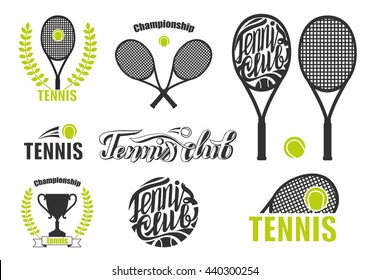 Tennis Icons. Set Of Tennis Badge Logo Templates. Vector illustration of tennis icons, logo for lawn tennis, consisting of green ball, net on court with racket .