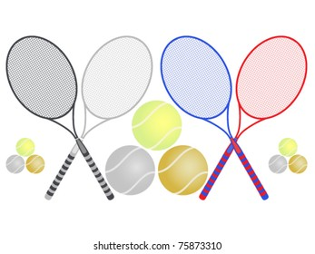 Tennis illustration. Rackets and balls