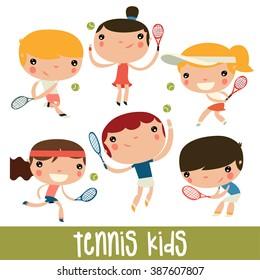 tennis kids set. cute flat vector characters.