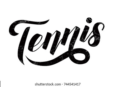 Tennis  lettering text with tennis ball on white background, vector illustration. Tennis calligraphy. Sport, fitness, activity vector design. Print for logo, T-shirt and caps.