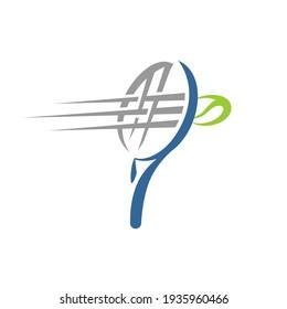 Tennis Logo a Tennis Racket and Fast Ball Shooting Symbol