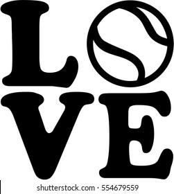 Tennis love with tennis ball