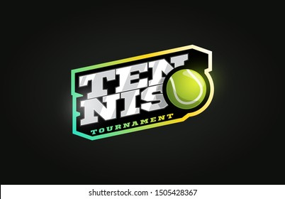 Tennis mascot Modern professional sport Typography in retro style. Vector design emblem, badge and sporty template logo design