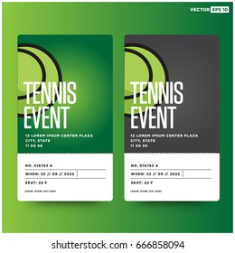 Tennis Match Event Ticket Card Design With Seat and Venue Details