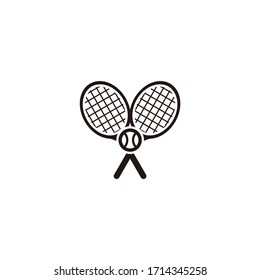 Tennis minimalist logo design icon. Crossed black tennis rackets with a ball