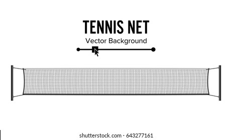 Tennis Net Vector. Realistic Net Used In The Sport Game Of Tennis Court, Beach Volleyball. Isolated Illustration