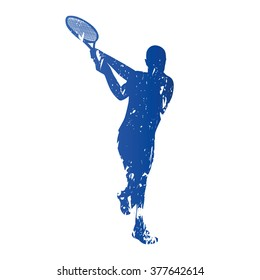 Tennis player, abstract grungy vector silhouette