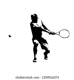 Tennis player, double handed backhand shot, abstract isolated vector silhouette