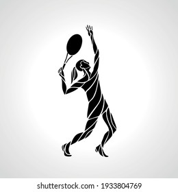 Tennis player female stylized abstract vector silhouette