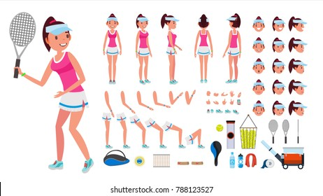 Tennis Player Female Vector. Animated Character Creation Set. Tennis Player Girl, Woman. Full Length, Front, Side, Back View, Accessories, Face Emotions, Gestures. Isolated Flat Cartoon Illustration