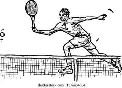 A tennis player hitting a tennis-ball. Hand drawn vector illustration.
