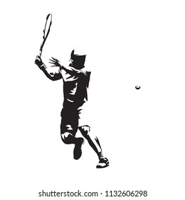 Tennis player isolated vector silhouette, abstract ink drawing of tennis athlete. Forehand. Individual summer sport, active people