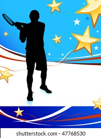 Tennis Player on Abstract Patriotic Background Original Vector Illustration