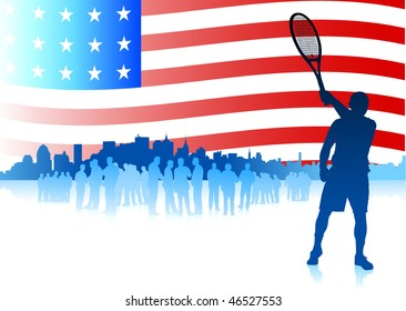 Tennis Player on American Flag Background Original Vector Illustration