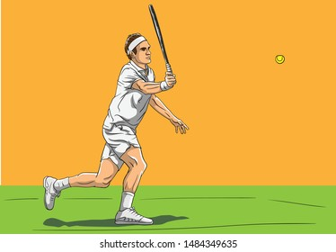 Tennis Player on court vector illustration