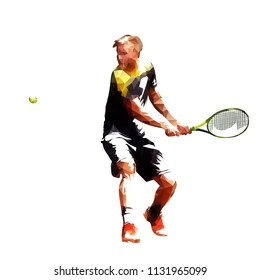 Tennis player polygonal vector illustration. Active people. Low poly athlete playing tennis